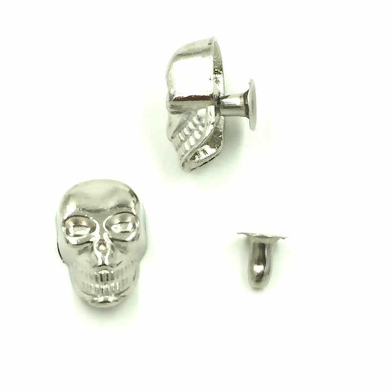Espiga remaches puntos Punk cráneo grúa esqueleto tono plateado DIY bolsa Zapatos Ropa artesanía hacer encontrar 16x10mm 10 conjuntos