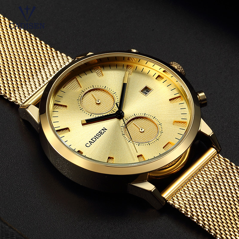 Cadisen Men's Gold Stainless Steel Quartz Watches Mesh Strap Chronograph Analogue Wristwatch for Man Boys CS2023 clearaudio professional analogue toolkit