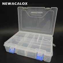 Double Transparent PP Toolbox Electronic Plastic Parts Box for Tool SMD SMT Container Screw Hardware Component Storage Case