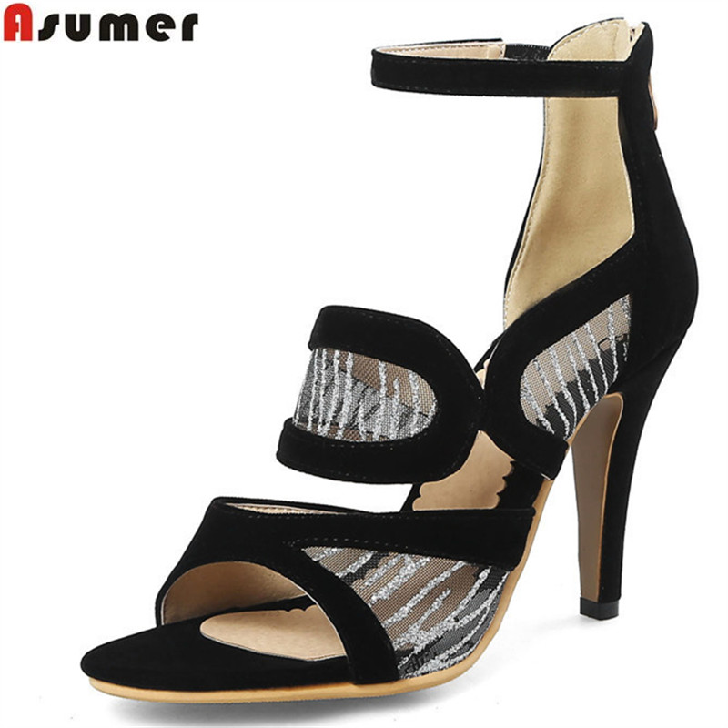 ASUMER 2018 fashion summer ladies shoes new arrival red blue zip elegant wedding shoes woman high heels sandals plus size 34-46