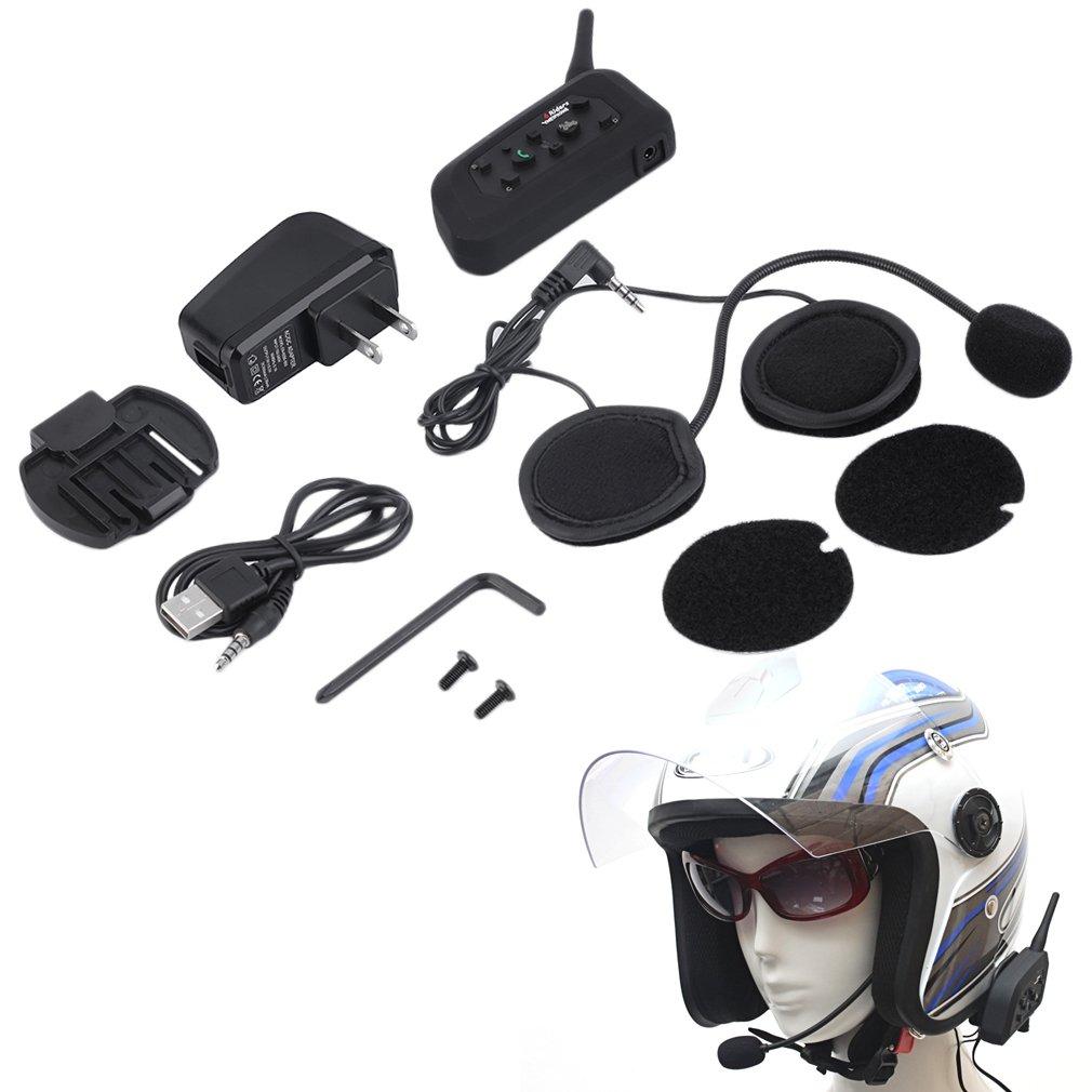 Nouveau V6 casque Interphone 6 coureurs 1200 M moto Bluetooth Interphone casque talkie-walkie casque BT Interphone Plug US Plug
