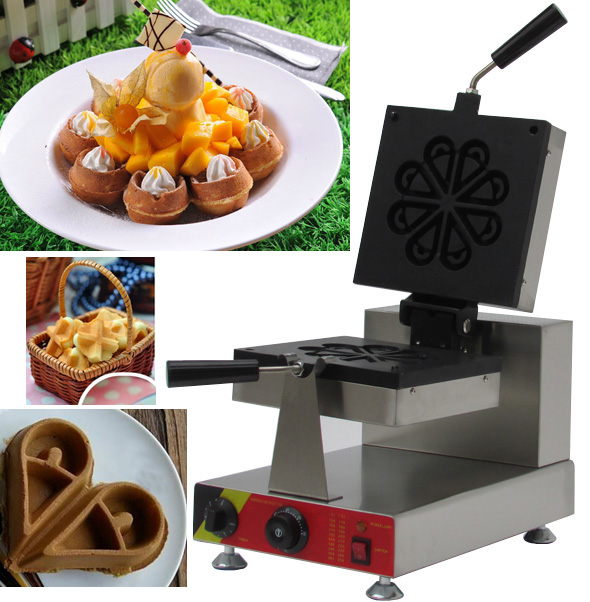 flower shape egg waffle maker machine Stainless steel electric industrial Belgian rotary Commercial directly factory price commercial electric double head egg waffle maker for round waffle and rectangle waffle