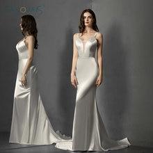 Shinny Satin Simple Wedding Dresses Beach Gowns Mermaid Dress for Party Vestido de Novia Robe Mariee