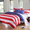 Полосы в форме звезды, США флаг хлопка девочек постельные принадлежности дешевые постельное белье простыня близнец полный королева король одеяло пододеяльники покрывало набор