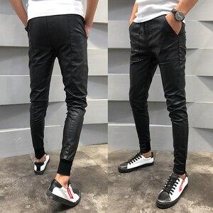 Image 4 - Brand New PU Leather Pants Men Autumn Winter Slim Fit Casual Mens Joggers Pants Drawstring Hip Hop Harem Pant Mens Trousers 40