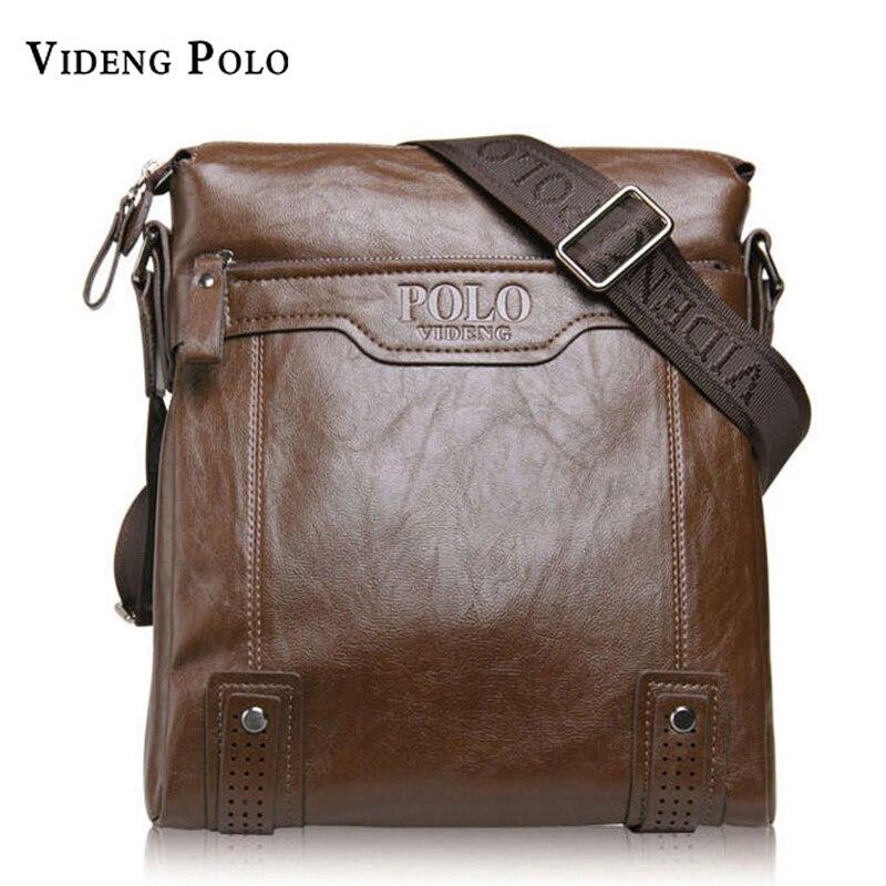 VIDENG POLO Men Bag Brand Classic Leather Casual Crossbody Shoulder Bag Business Messenger Bag Soft Leather Mens Travel Flap Bag