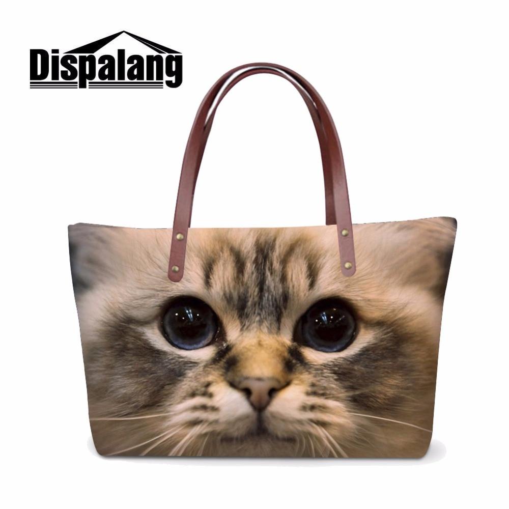 Dispalang Cute Cat Print Handbag For Women Top Handle Shoulder Bag Ladies Popular Handbags Female Shopping Tote Bag Sac A Main
