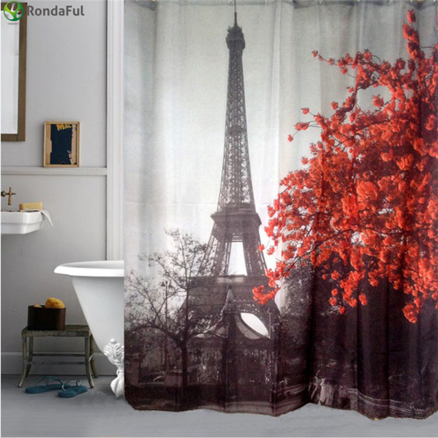 Eiffel Tower Flower Waterproof Shower Curtain Polyester Fabric Bath Bathing Bathroom Curtains With Hooks For