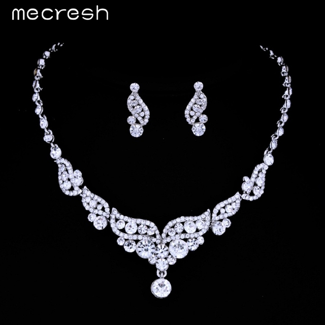 Luxurious Angel Wings Crystal Bridal Wedding Jewellery Set Silver Necklace & Earrings