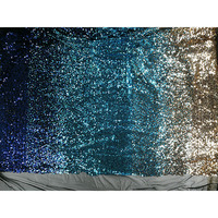 Deep Blue Sea Golden Sequin Fabric Mesh Bottom Gradient Laser Sequins Clothing Material Fabric for Dress