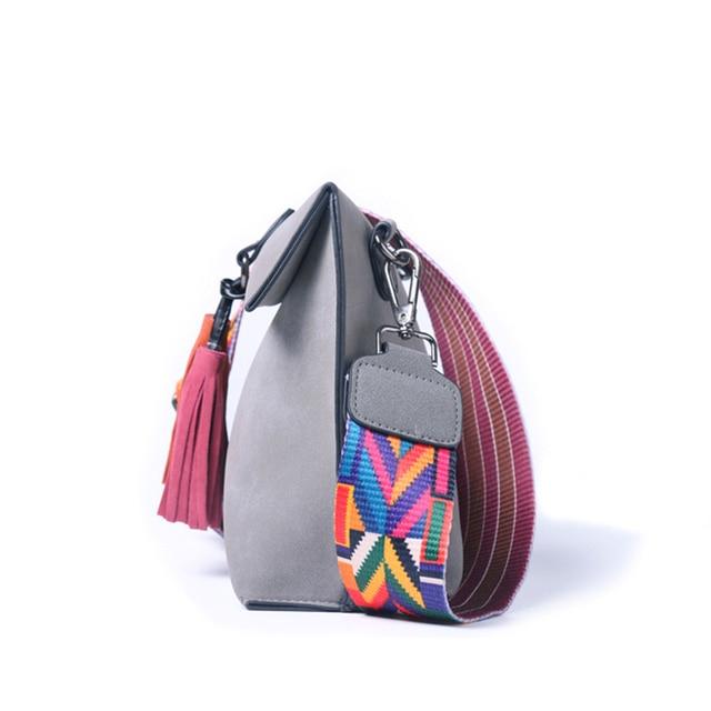 DAUNAVIA Brand Women Messenger Bag Crossbody Bag tassel Shoulder Bags Female Designer Handbags Women bags with colorful strap 1