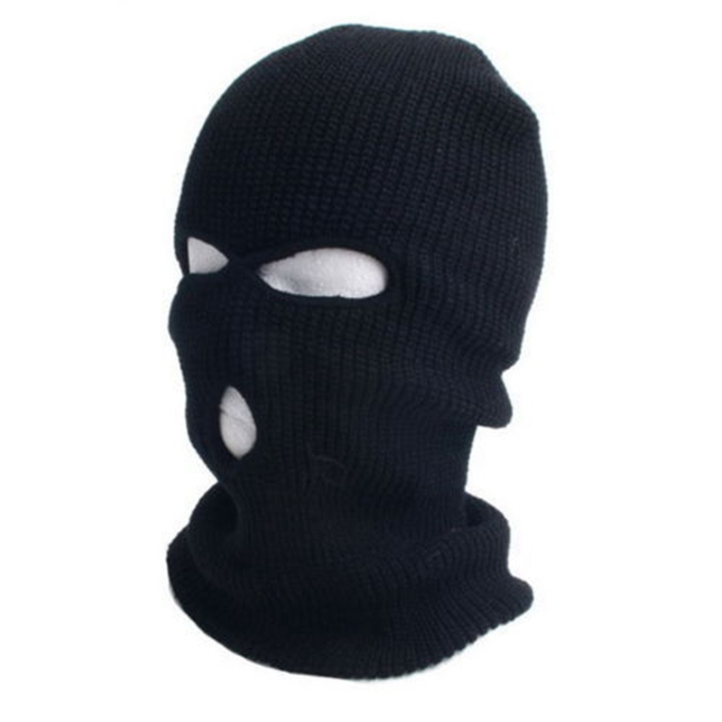 3 Hole Ski Cycling Mask Balaclava Black Knit Hat Face Shield Beanie Cap Snow Winter Warm Black Ski Cycling Mask fashion novelty women s men s winter warm black full face cover three holes mask beanie hat cap hot sale cai0328