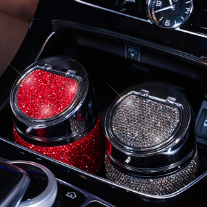 Image 2 - Cenicero de diamante hecho a mano para coche, Cenicero portátil sin humo, soporte Universal para cigarrillos, accesorios para coche