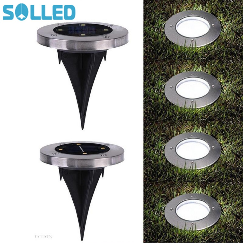 SOLLED New LED Solar Powered Underground lighting Lamp 4 LED Light Spots Outdoor Waterproof Buried Light Garden Decoration