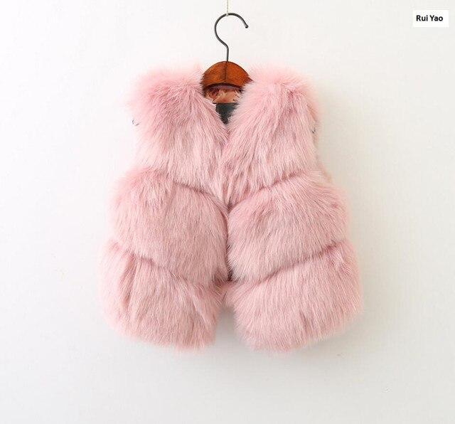 0f7ea3acf autumn baby vest for girl faux fur vest pink fashion kids vest ...