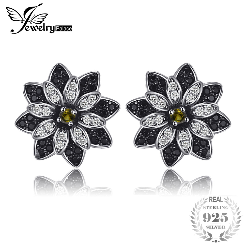 JewelryPalace Flower Natural Taupe Smoky Quartz Black Spinel Stud Earrings 925 Sterling Silver Women Trendy Charm Fine JewelryJewelryPalace Flower Natural Taupe Smoky Quartz Black Spinel Stud Earrings 925 Sterling Silver Women Trendy Charm Fine Jewelry