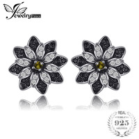 JewelryPalace Flower Natural Taupe Smoky Quartz Black Spinel Stud Earrings 925 Sterling Silver Women Trendy Charm Fine Jewelry