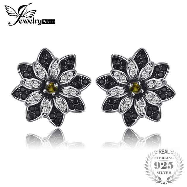 JewelryPalace Flower Natural Taupe Smoky Quartz Black Spinel Stud Earrings 925 S
