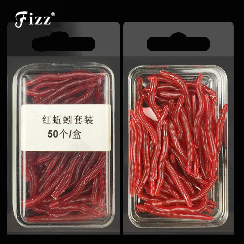 50pcs / box Artificial Earthworm Fiskeri Lure Blood Worm Maggot Blødt Bait River Stream Lake Freshwater Fishing Baits Dropshipping