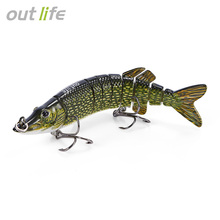 Outlife 5″ 9-Segement Pike Lure With Mouth Swimbait Crankbait Pike Muskie Fishing Lure Fishing Bait Tackle 12.5cm 20g