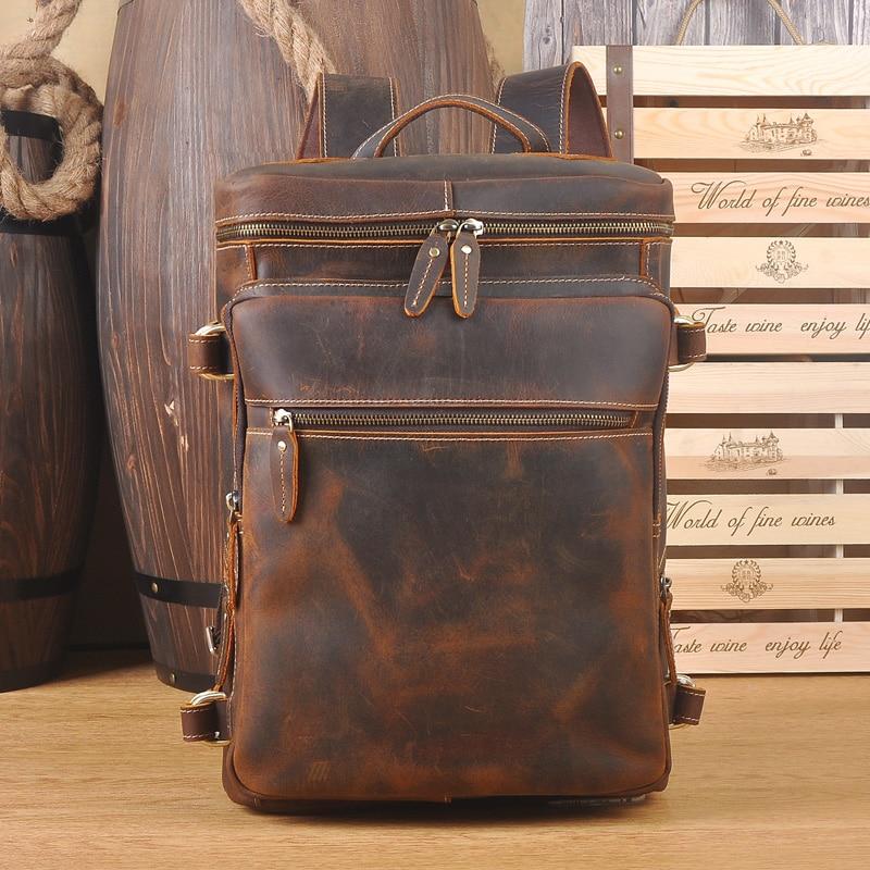 Echtem Männlichen Rindsleder Universität Buch Reisetasche Student Leder Design Tasche Echte Rucksack Daypack Schule Vintage Brown Lapoe Männer HE7q7v