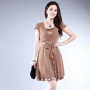 2013 summer slim plus size mm women's fashion mother clothing short-sleeve chiffon one-piece dress