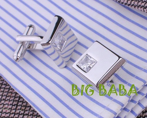High quality Fashion copper men's cuff links crystal cufflinks Latest design fashion jewelry come with gift bag CL001