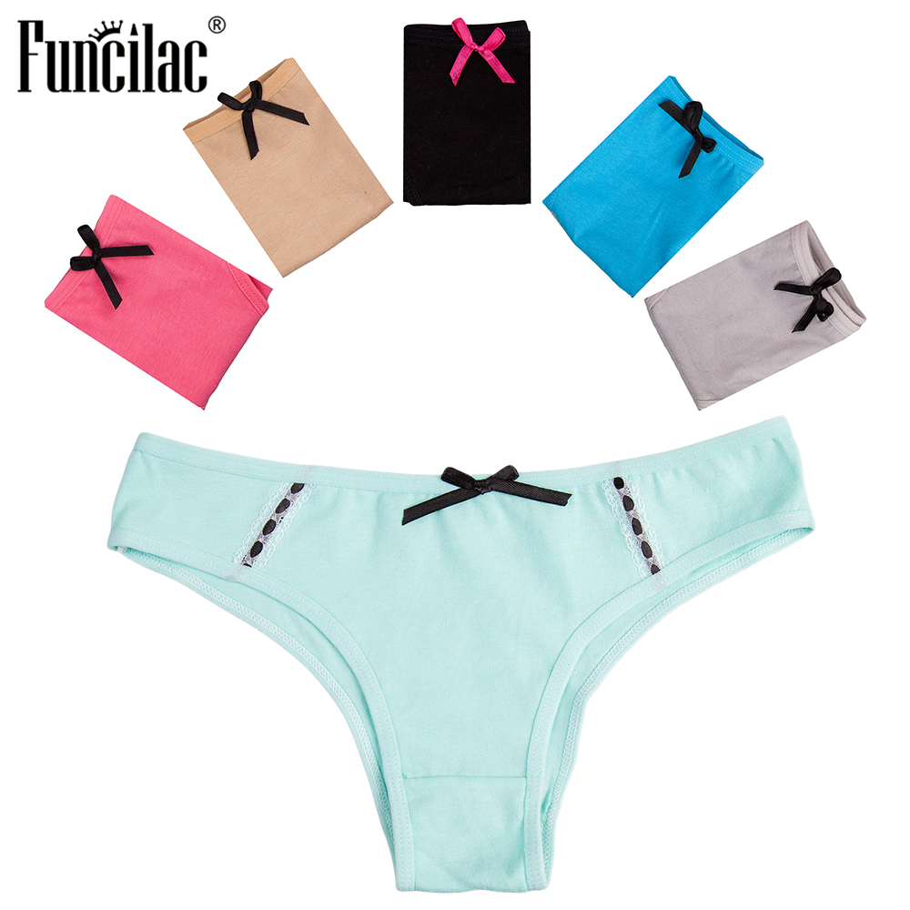 FUNCILAC Sexy   Panties   for Women Cotton Women Briefs Lace Patchwork Underpants Ladies Bikini Female Underwear Lingerie 5 Pcs/Lot