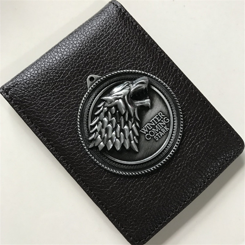 Cosplay Game Of Thrones Stark Metal Badge Leather Case Holder ID Cards Driving Wallets Holder Case Cosplay Props