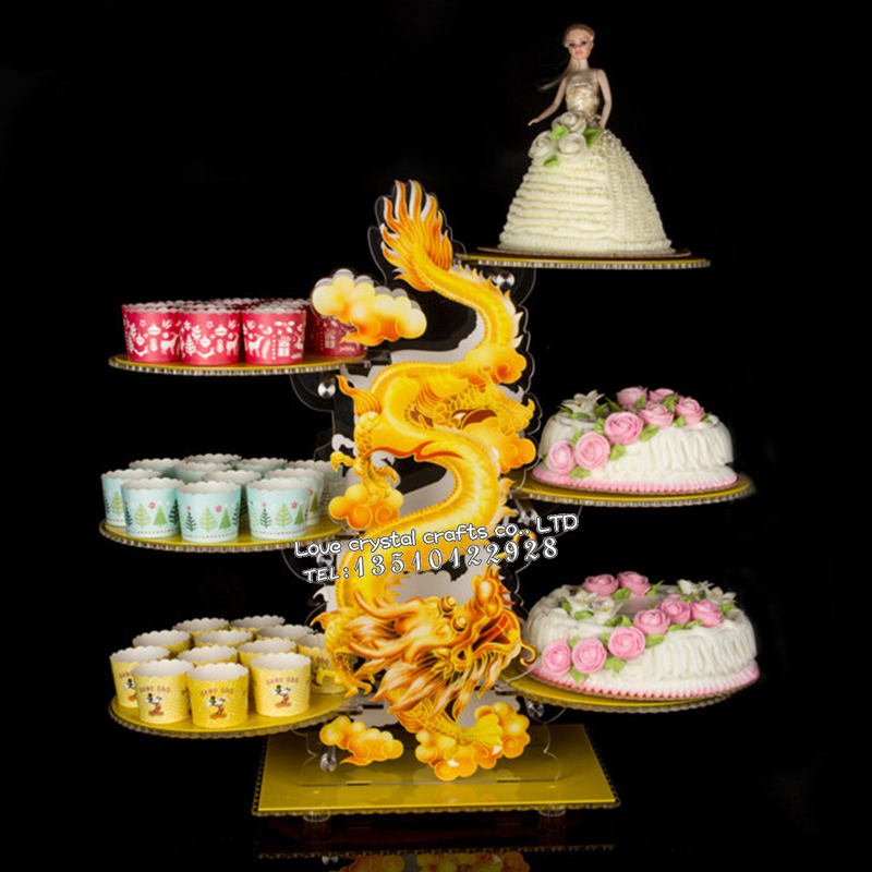 Chinese Style Acrylic Wedding Cake Stands 6 8 Layers Dragon Phoenix ...