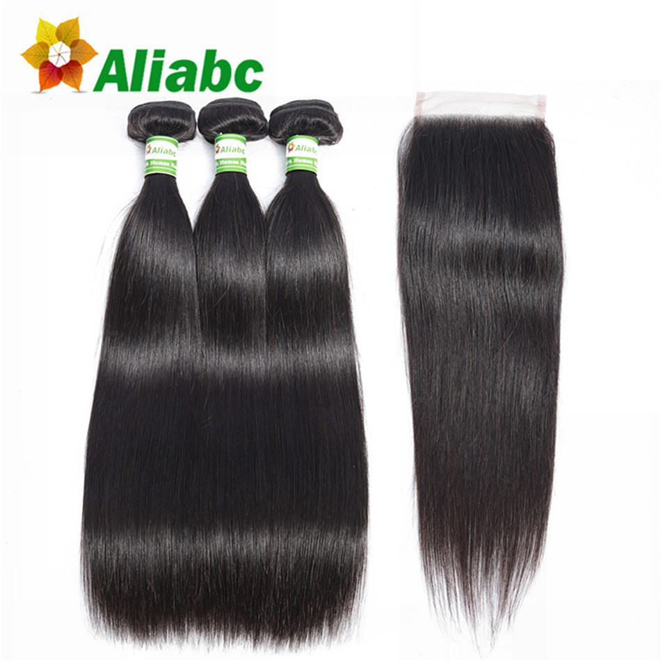 Aliabc Brazilian Straight 100 Human Hair Weave 3 Bundles With Lace Closure Non remy Natural Color