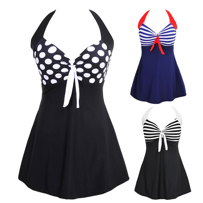 2019 Sexy Plus size Striped Halter Skirt Swimwear Women One piece Suits Swimsuit Tankini Female Bathing suit Swimwear Dress 4XL