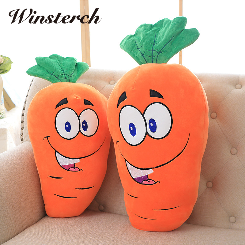 Cute Plush Smile Carrot Toys Pillow Soft Stuffed Vegetable Carrots Dolls Cushion Baby Kids Toys Birthday