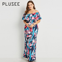 Plusee Dress Size XL Women 2017 New Dress Dark Blue Bodycon Slim Floral Color Block Print