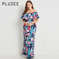 Plusee Dress Size XL Women 2017 New Dress Dark Blue Bodycon Slim Floral Color Block Print