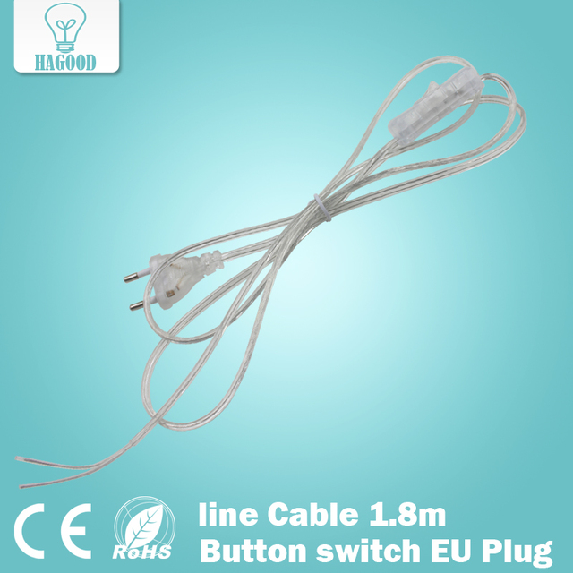 line Cable 1.8m On Off Power Cord For LED Lamp with Button switch EU ...