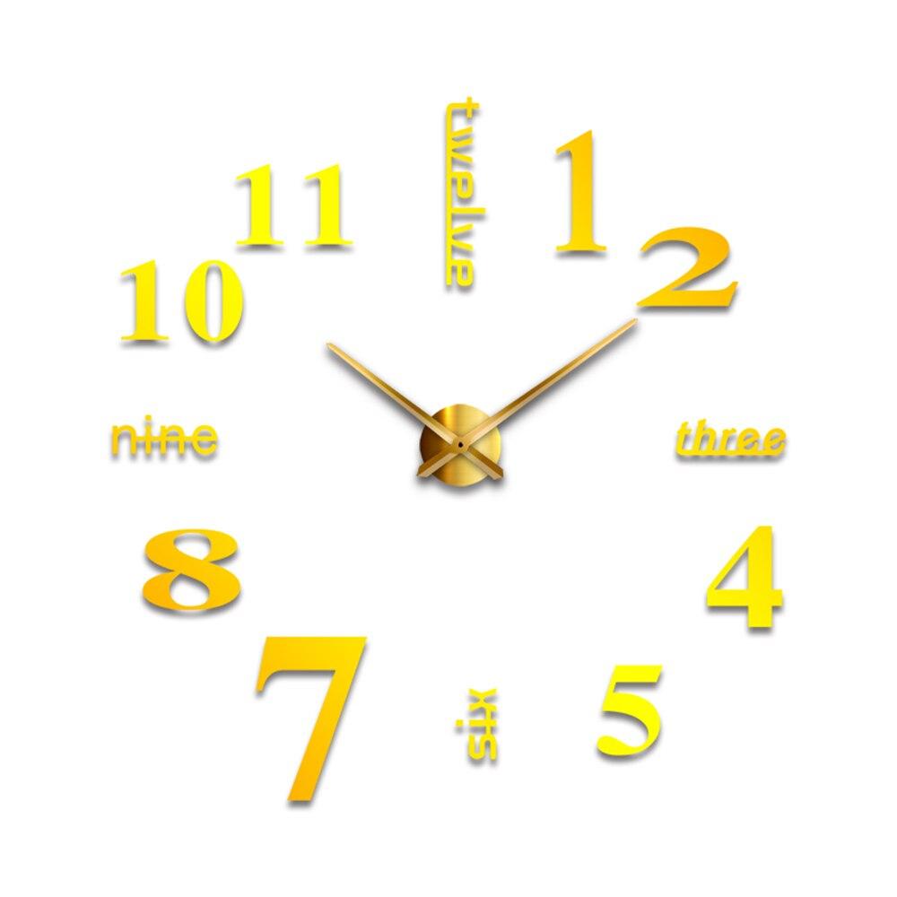 DIY 3D зеркальные настенные наклейки настенные часы художественная роспись домашний Декор Гостиная ТВ Фоновые наклейки настенные часы кварцевые иглы - Цвет: G Gold