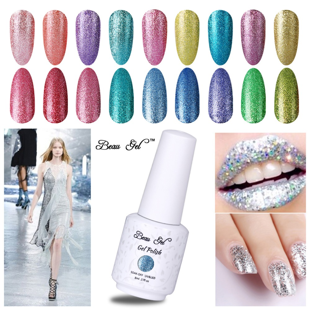 Beau Gel 8ml Platinum Series Nagelgel Bling Glitter Gel Polish UV-LED-Lampe Semi Permanent weg tränken Gel-Lack Maniküre Art