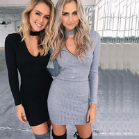 2016 Women Fall Winter Stretchy Halter Knitted Sweater Dresses V Neck Grey Long Sleeved Bodycon Mini