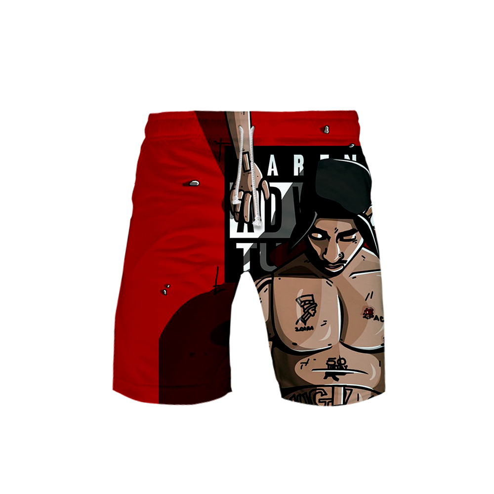 Shorts Men Summer Casual Knee-Length Fashion Ring 2pac 3D Tupac Print Shakur Harajuku