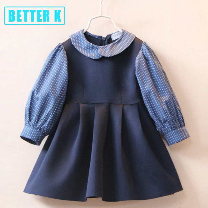 Girls 2017 Spring New Kids Dresses For Girls Dress Girl Long Sleeves Dress Children Lapel Cotton Dress For Kids