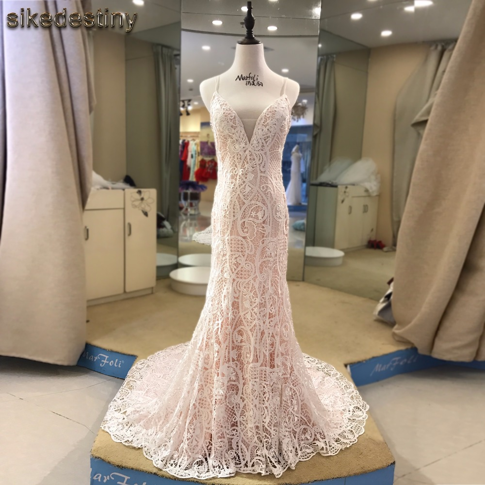 Sikedestiny new fashion high quality lace mermaid for Ivory champagne wedding dress