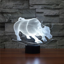 7 colors changeable touch sensor control BULL 3D Acrylic LED Bedroom Night Light with USB table Lamp OX 3d led недорого