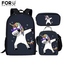 FORUDESIGNS Custom You Image Unicorn School Bags Set for Girls Boys Children Dinosaur Backpacks Kid Student Book Bag