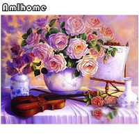 AMLHOME New 5D DIY Diamond Painting Flower Crystal Diamond Painting Cross Stitch Cello Flower Needlework Home