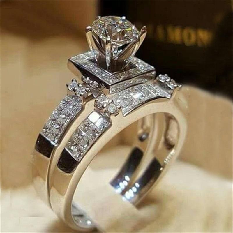 2 pezzi Set da sposa anelli eleganti per le donne colore argento gioielli da sposa fidanzamento moda con anello femminile zircone pieno lucido 2