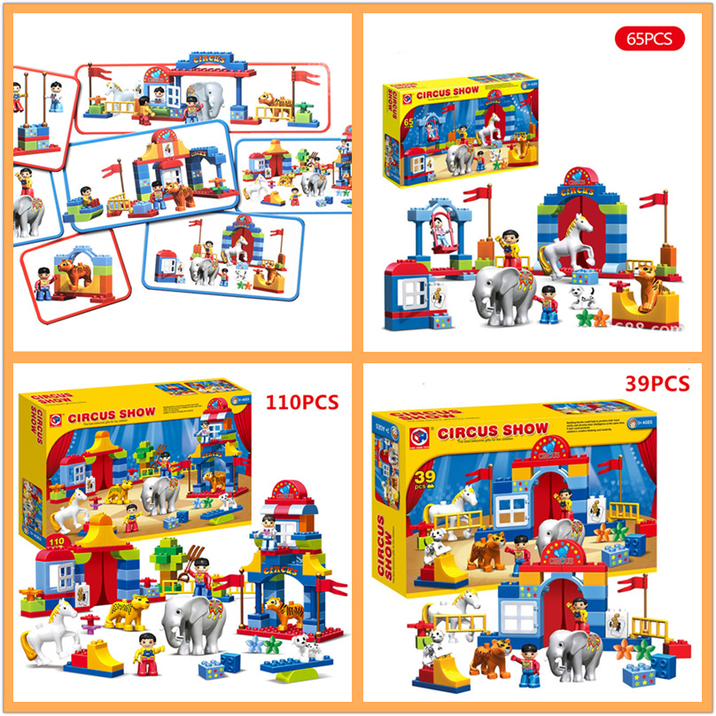 65pcs Large particles Circus Show Building Blocks Classic Educational Toys Bricks Compatible legoeINGly Duplos Birthday Gifts ...