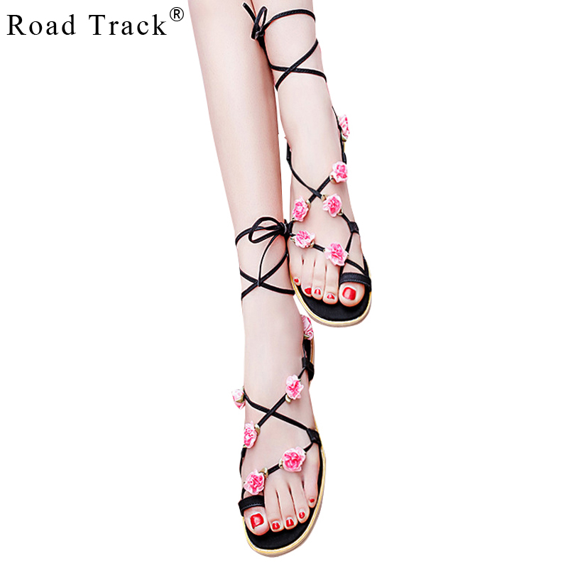 2fa406983f46 Road Track Women Sandals Gladiator Breathable Floral Lace Up Ankle Strap  Flat With Shoes XWA0889 5-in Women s Sandals from Shoes on Aliexpress.com