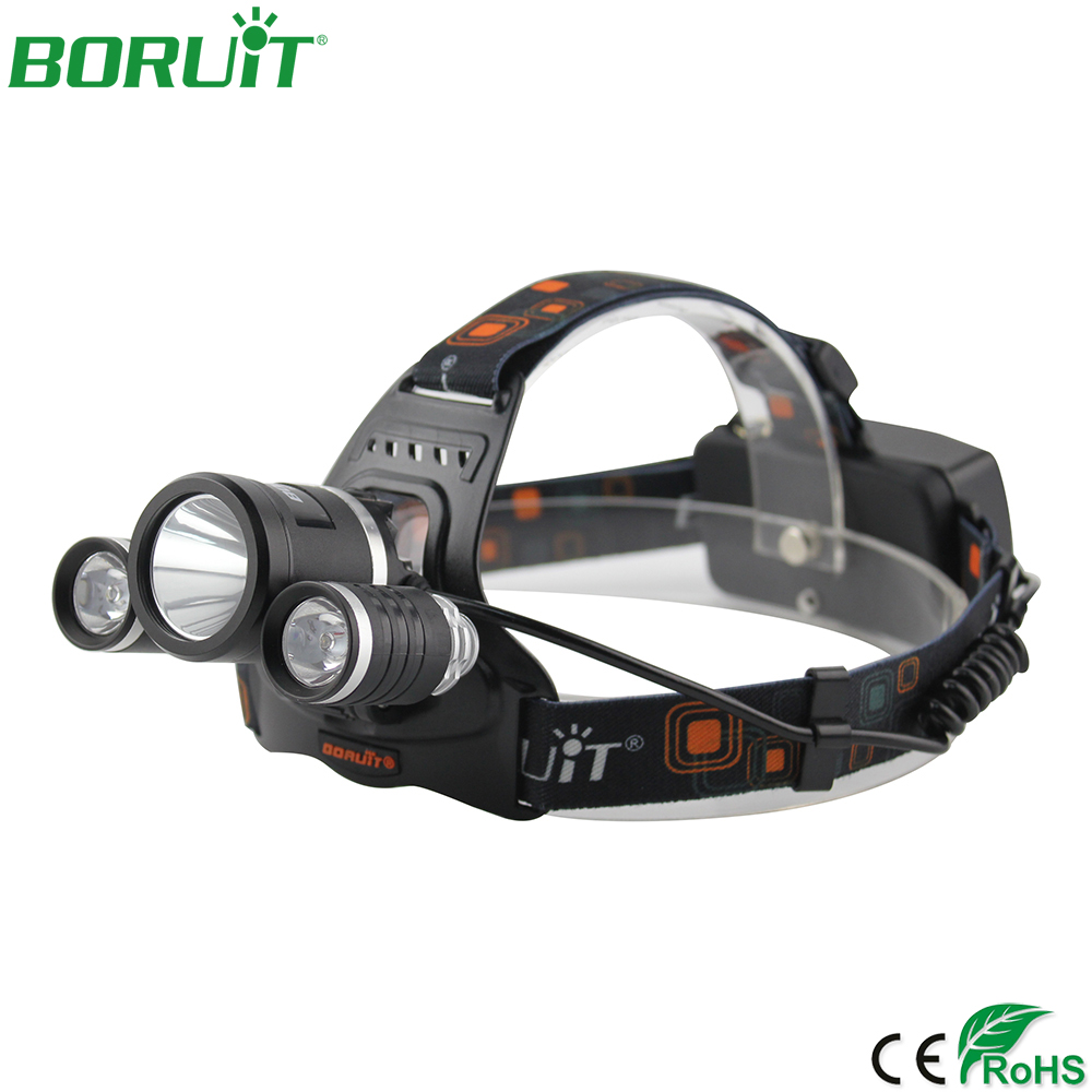BORUiT XML L2 LED Headlamp Flashlight 4 Modes Lantern Rechargeable Headlight Portable Camping Hunting Head Torch Light 18650