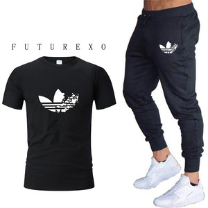 Summer fashion men's casual pant  male gyms fitness trousers black pants+T-shirt two-piece Sportswear Bottoms Skinny Sweatpants